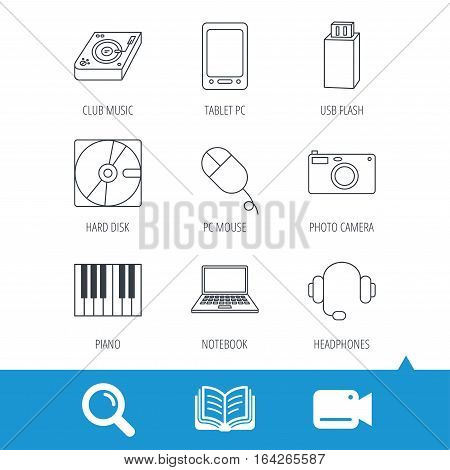 Tablet PC, USB flash and notebook laptop icons. Club music, hard disk and photo camera linear signs. Piano, headphones icons. Video cam, book and magnifier search icons. Vector