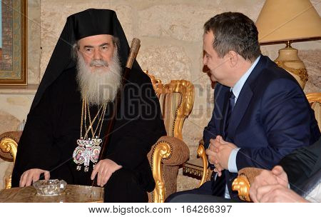 Bethlehem, Palestine. January 6Th 2017: Greek Orthodox Patriarch Of Jerusalem Theophilos Iii With Pa