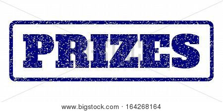 Navy Blue rubber seal stamp with Prizes text. Vector message inside rounded rectangular frame. Grunge design and dirty texture for watermark labels. Horisontal emblem on a white background.