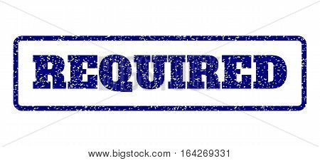 Navy Blue rubber seal stamp with Required text. Vector caption inside rounded rectangular banner. Grunge design and unclean texture for watermark labels. Horisontal emblem on a white background.