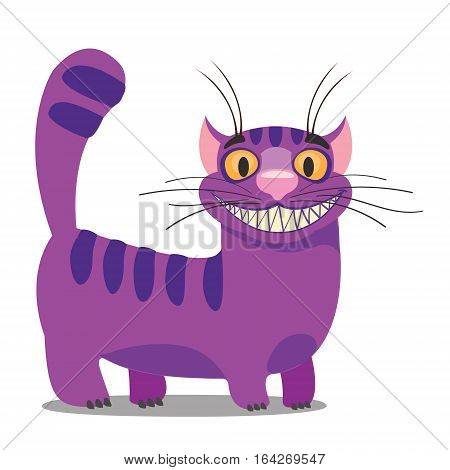 Cheshire Cat. Illustration to the fairy tale Alice's Adventures in Wonderland. Purple cat with a big smile standing.