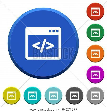 Programming code in software window. Round color beveled buttons with smooth surfaces and flat white icons