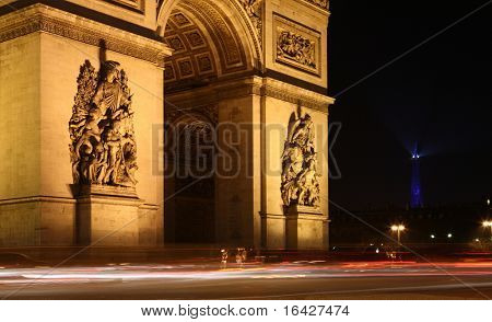 Twilight view of the Arc de Triomphe (Arch of Triumph), Paris, France