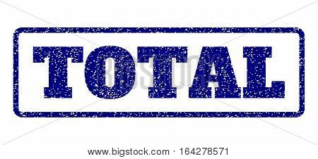 Navy Blue rubber seal stamp with Total text. Vector caption inside rounded rectangular frame. Grunge design and dirty texture for watermark labels. Horisontal emblem on a white background.