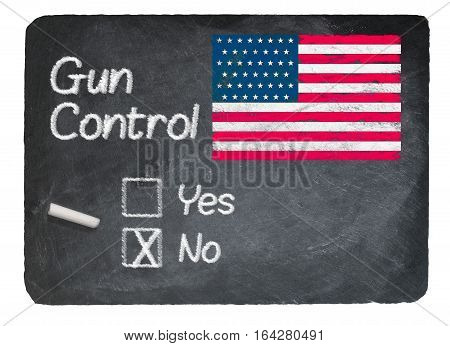 Gun Control voting choice message written on a chalky natural slate blackboard with no checkbox filled and chalk