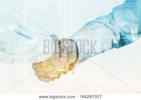 Close up of two men shaking hands. One is wearing a white shirt his colleague is wearing a light blue one. 3d rendering. Toned image. Double exposure