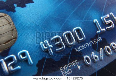 Close-up of a credit card (selective focus, shallow depth of field)