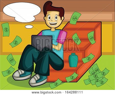 Success Internet Young Businessman with Thought Bubble and Working with Laptop Cartoon Illustration.