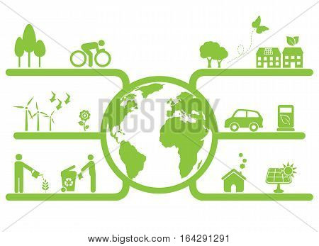 Green clean planet and sustainable living symbols