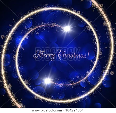 Golden spiral with golden dust particles trail holiday vector background with shiny bokeh. Christmas background. Eps10.