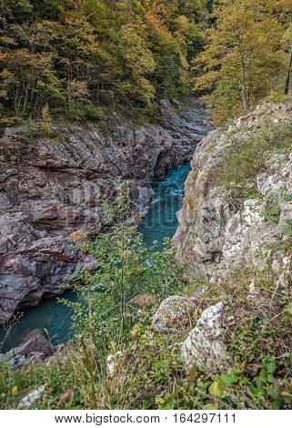 white; river; gorge; khadzhokhsky; adygea; khadzhokh; belaya; rough; kamennomostsky; nature; summer; water; travel; landscape; tourism; vacation; stone; mountain; landmark; noise; caucasus; canyon