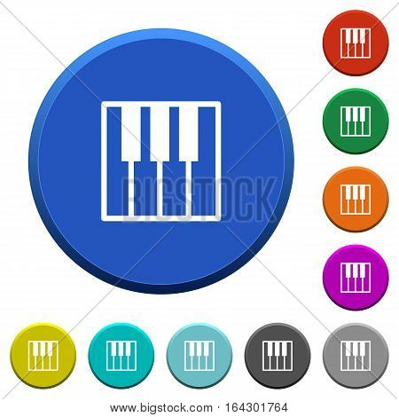Piano keyboard round color beveled buttons with smooth surfaces and flat white icons