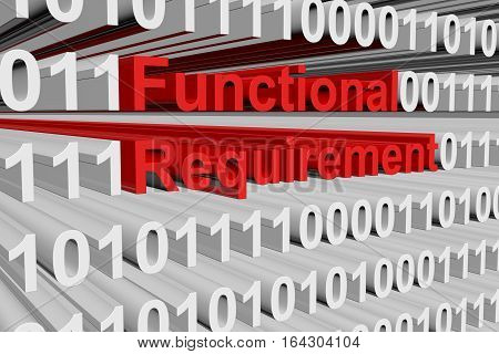 Functional requirement in the form of binary code, 3D illustration