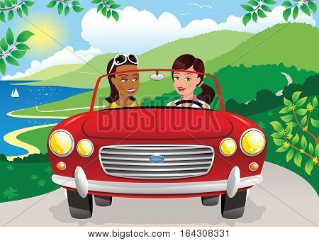 Two young women driving in an open top car along a sunny coastal road.