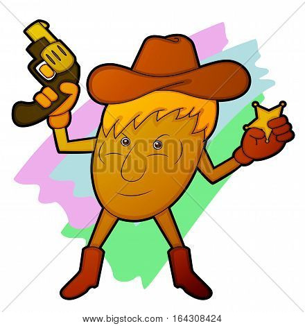 Potato Sheriff Holding Gun and Star Badge Cartoon Character.