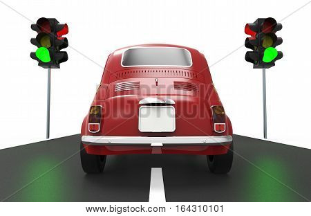 Little car in front of a green traffic light on white background 3D rendering