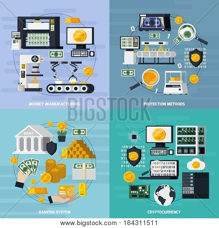 Money manufacturing concept icons set with protection methods symbols flat isolated vector illustration