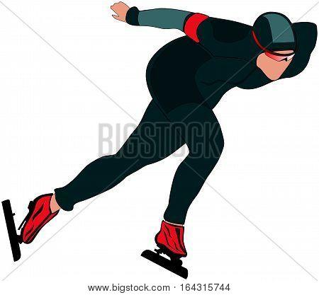 man athlete skater race in speed skating