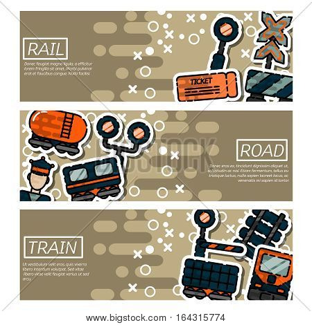 Set of Horizontal Banners about railroads, railroad station and loading at railway transport compositions vector illustration