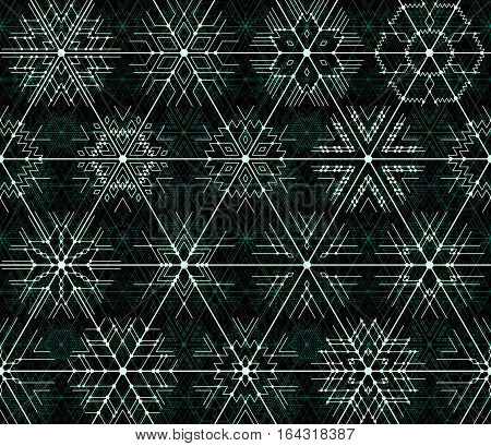 Seamless vector thin line geometric pattern of snowflakes with the points at the intersections. The image of the chip technologies. Neon blue lines on a black background.