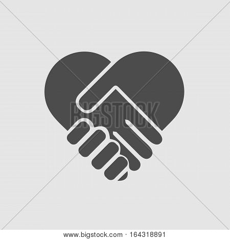 hands shaking forming heart vector isolated icon eps 10