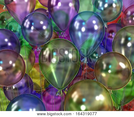 Color party balloons inflated many 3d illustration horizontal