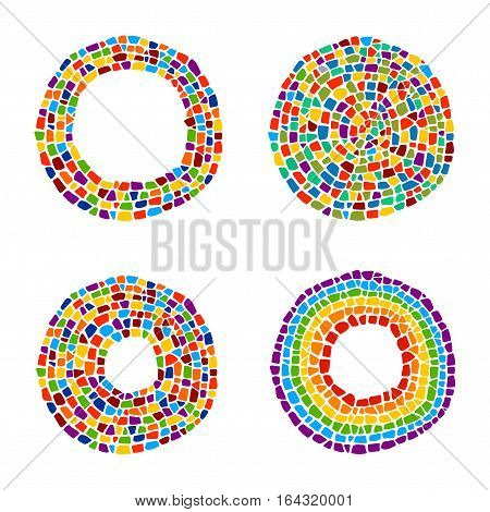 Mosaic frames and circles. Ceramic tile texture. Easy to recolor.