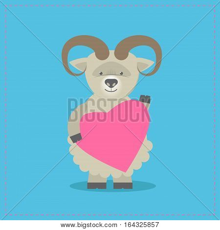 Sheep holding a heart. Plush toy lamb with heart. Gift. Postcard on Valentine's Day birthday Mother's Day. Vector cartoon
