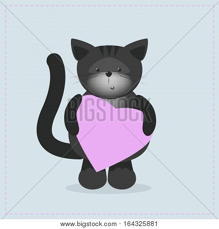 Cat holding a heart. Plush toy kitty with heart. Gift. Postcard on Valentine's Day birthday Mother's Day. Vector cartoon
