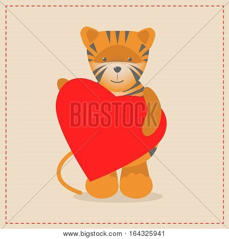 Tiger holding a heart. Plush toy tiger with heart. Gift. Postcard on Valentine's Day birthday Mother's Day. Vector cartoon