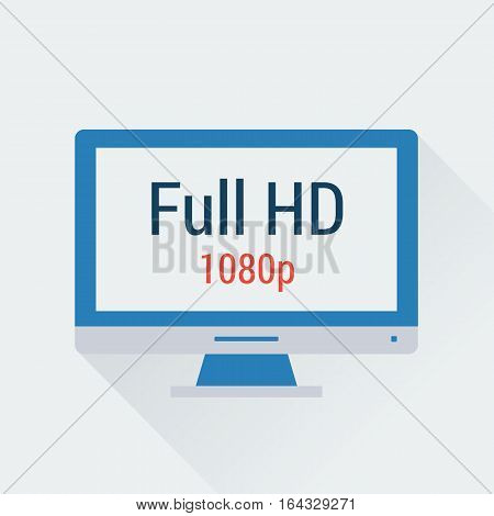 Vector flat full HD monitor icon with shadow. Modern 1080 pixels resolution for monitors