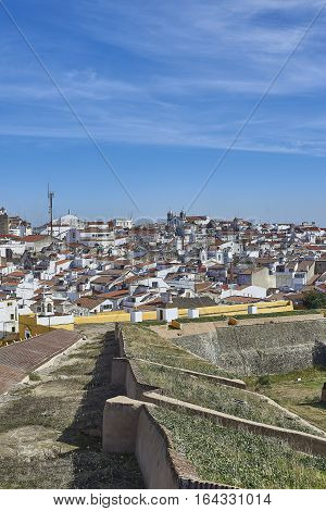 View Of The Old Town Of Elvas, Alentejo, Portugal.