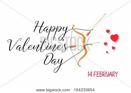Happy Valentines Day lettering text with golden bow and arrow . Holiday typography design for Valentines Day. Vector Illustration. For greeting card, flyer, poster or banner.