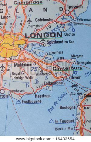 London, United Kingdom as a travel destination on a map