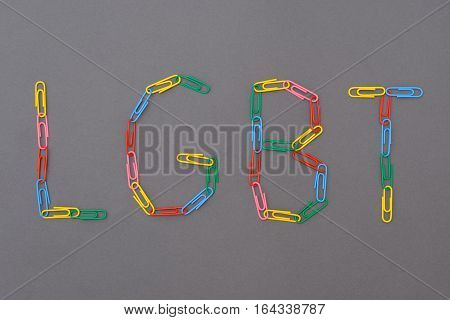 Colorful lgbt word isolated and made of paperclips