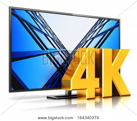 3D render illustration of 4K UltraHD resolution TV cinema or computer PC monitor display isolated on white background with reflection effect