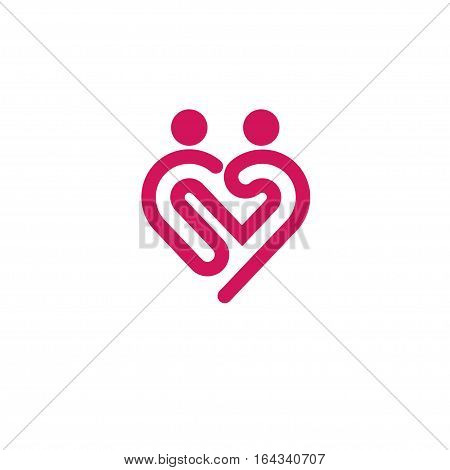 Heart icon vector logo. Heart logo, couple shape. love logo concept.  Heart logo. Heart icon. Love, health or doctor and relations symbol. Heart vector logo, heart together icons