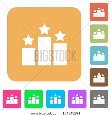 Ranking flat icons on rounded square vivid color backgrounds.