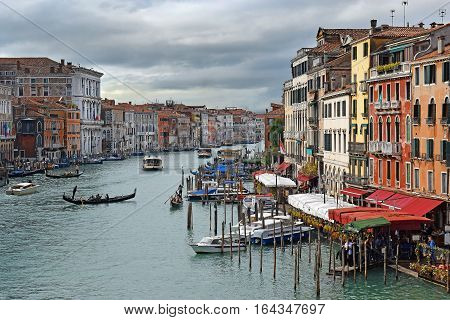 VENICE, ITALY - 11 OCTOBER 2016: Grand Canal - the main traffic artery of Venice on October 11 2016