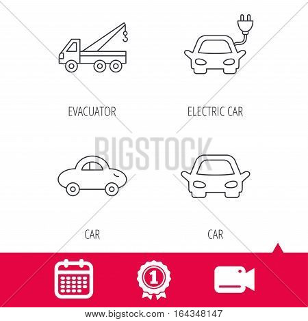 Achievement and video cam signs. Electric car, evacuator and transport icons. Car linear signs. Calendar icon. Vector