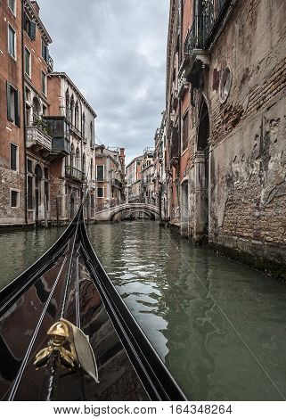 The ancient city of Venice is in Italy on the Gulf of Venice. Famous streets - channels the movement which is possible only by boat .