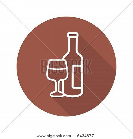 Wine flat linear long shadow icon. Wine bottle and glass. Vector line symbol