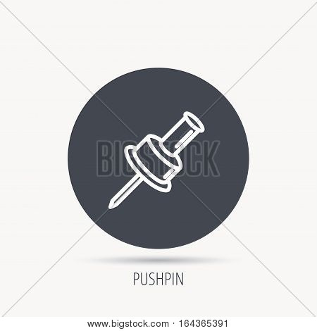 Pushpin icon. Pin tool sign. Office stationery symbol. Round web button with flat icon. Vector