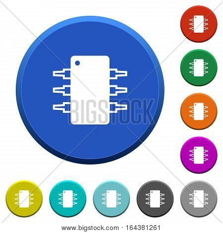 Integrated circuit round color beveled buttons with smooth surfaces and flat white icons