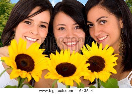 Beautiful Girls With Sun Flowers