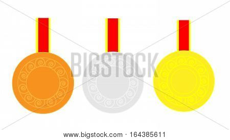 Gold silver and bronze medals on red-yellow ribbon
