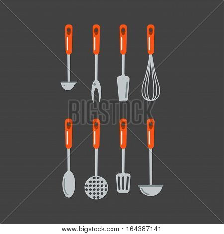 Set of kitchen metal ladle and cooking kitchenware utensil. Domestic steel stainless equipment. Everyday food preparation flat vector illustration.