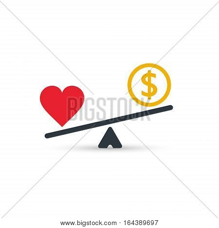Heart and money scales icon. Money and heart balance on scale. Weights with love and money coin. Vector isolated color sign.