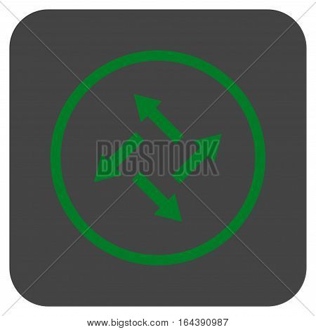 Centrifugal Arrows glyph icon. Image style is a flat icon symbol inside a rounded square button green and gray colors.