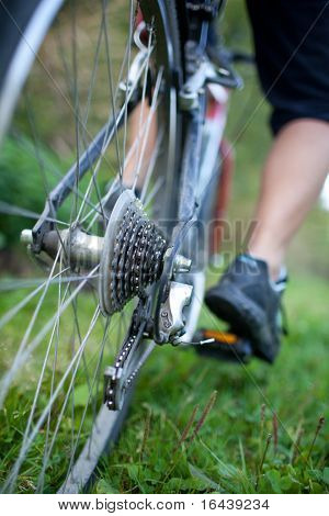 biking - rear wheel of a young woman's mountain bike on a green mountain path (shallow DOF - selective focus)